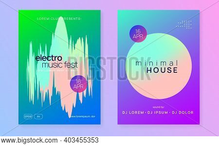 Music Poster Set. Fluid Holographic Gradient Shape And Line. Electronic Sound. Night Dance Lifestyle