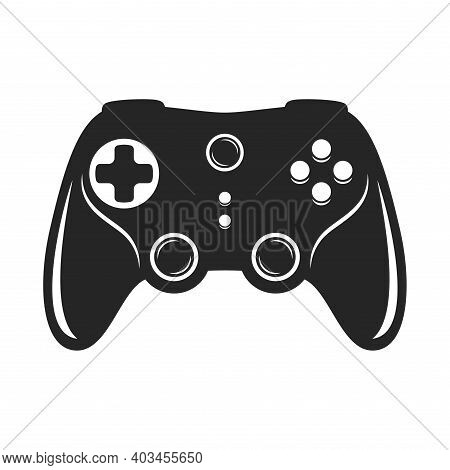 Gamepad Bold Black Silhouette Icon Isolated On White. Joypad With Buttons, Game Controller Pictogram