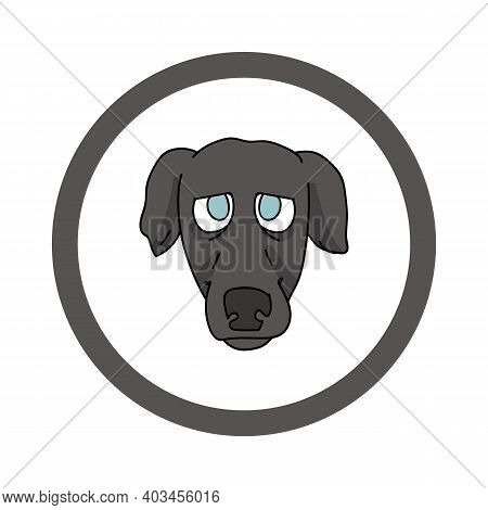 Cute Cartoon Greyhound Face In Circle Puppy Vector Clipart. Pedigree Kennel Doggie Breed For Kennel