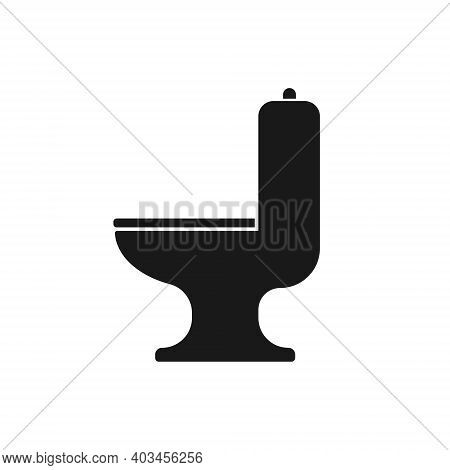 Toilet Seat Vector Icon. Lavatory And Water Closet Bowl Symbol. Bathroom Or Wc Sign. Hygiene And San