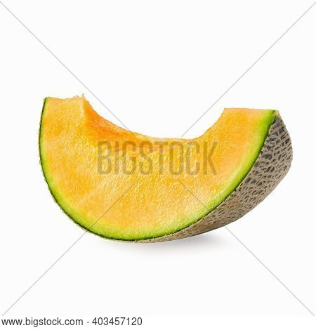 Japanese Melons, Honey Melon Or Cantaloupe Isolated On White Background.