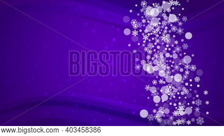 Xmas Theme Sales With Ultraviolet Snowflakes. New Year Backdrop. Snow Border For Flyer, Gift Card, I