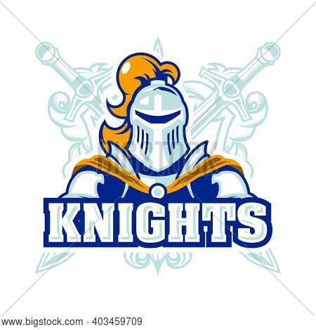 Emblem With Knight In Armour, Chivalry Logo With Paladin And Swords, Template For A Sport Team, Vect