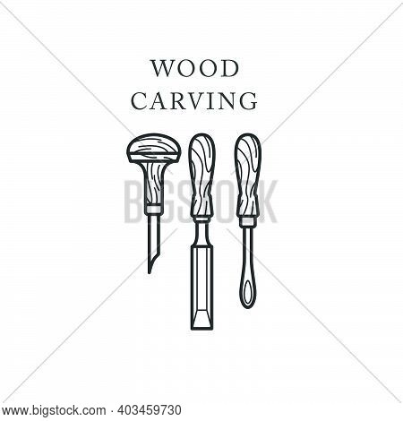 Wood Carving Tools Icon, Logo With Chisels, Timber Engraving Emblem, Vector