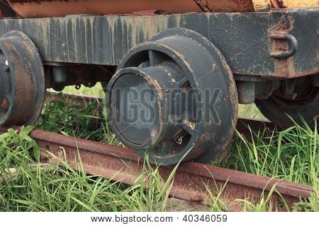 Rusty Nonperforming Industrial Car On Rails