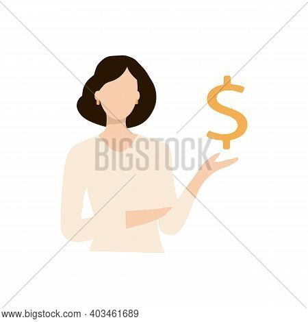 Girl Or Young Woman Holding A Dollar Icon. Eps10