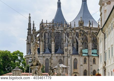 Saint Barbara's Church, A Roman Catholic Church In Kutna Hora,  Bohemia, In The Style Of A Cathedral