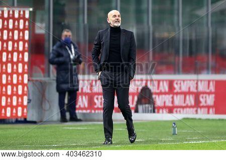 Milano, 12th January 2020. Stefano Pioli, Head Coach  Of Ac Milan  During The Coppa Italia Match Bet