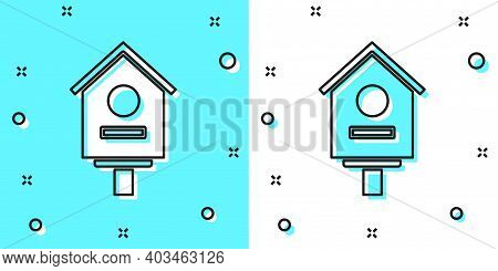Black Line Bird House Icon Isolated On Green And White Background. Nesting Box Birdhouse, Homemade B