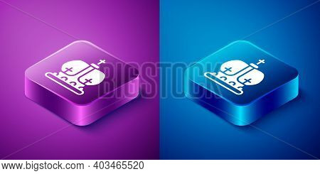 Isometric British Crown Icon Isolated On Blue And Purple Background. Square Button. Vector