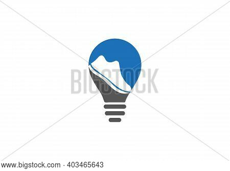 Athletic Shoe. Running Logo Vector Template With Shoe Concept. Shoe Icon Logo Vector. Shoe And Bulb