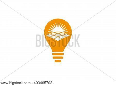 Solar With Electric Bulb Vector Design. Solar Energy Logo Design. Solar Panel Energy Electric Electr