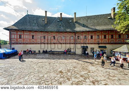 Tourists At Karlstejn Castle
