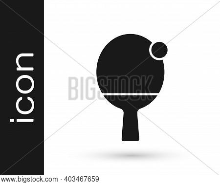 Black Racket For Playing Table Tennis Icon Isolated On White Background. Vector