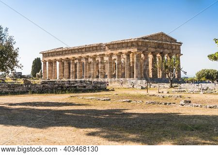 View Of The Temple Of Hera Ii In Paestum, Italy.
