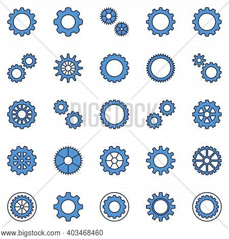 Cog Wheel And Gear Blue Icons Collection - Vector Gearwheel Concept Creative Signs Or Logo Elements