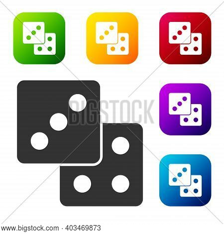 Black Game Dice Icon Isolated On White Background. Casino Gambling. Set Icons In Color Square Button