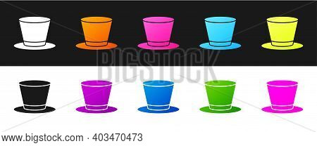 Set Cylinder Hat Icon Isolated On Black And White Background. Vector