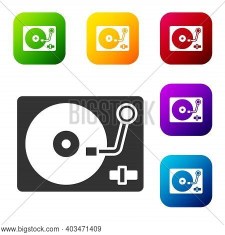 Black Vinyl Player With A Vinyl Disk Icon Isolated On White Background. Set Icons In Color Square Bu
