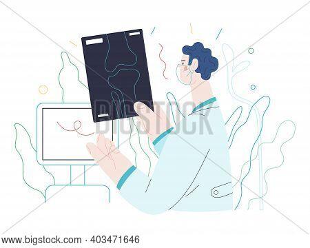 Medical Tests Illustration - X-ray Test - Modern Flat Vector Concept Digital Illustration Of X-ray I