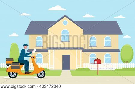 Mail Postman Riding Bike And Delivering Newspapers. Cheerful Courier With Newspaper Near House. Conc