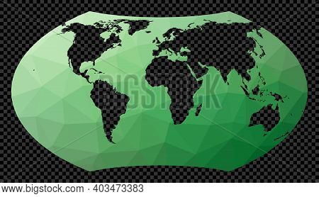 Geometric World Map. Wagner Projection. Polygonal Map Of The World On Transparent Background. Stenci