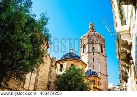 Valencia, Spain - 07.21.2019: El Miguelete, Miguelete Bell Tower Is The Valencian Gothic Style Bell