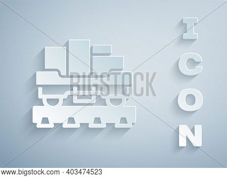 Paper Cut Cargo Train Wagon Icon Isolated On Grey Background. Full Freight Car. Railroad Transportat