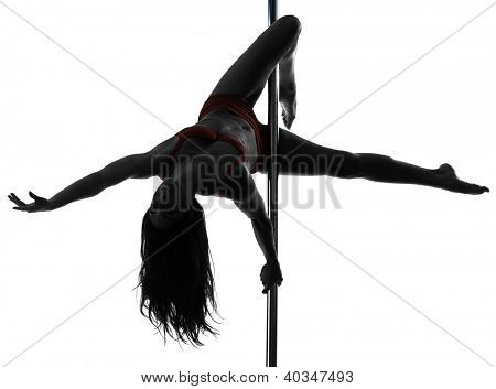 one caucasian woman pole dancer dancing in silhouette studio isolated on white background poster