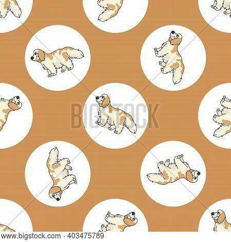 Cute Cartoon Cocker Spaniel Dog Vector Clipart. Pedigree Kennel Doggie Breed For Kennel Club. Purebr