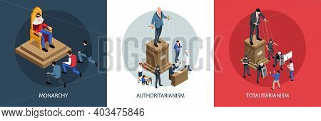 Isometric Political Systems Design Concept With Text Captions And Compositions With Visual Represent