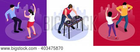 Isometric Dj Design Concept With Square Compositions Of Playing Disk Jockey And People Dancing On Da