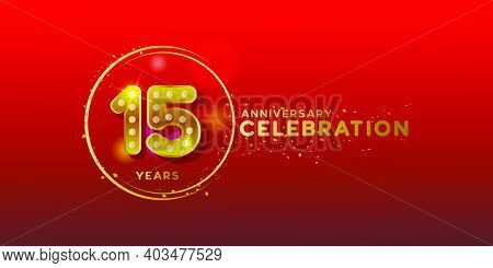 15th Anniversary With Gold Number And Glitter Design Background