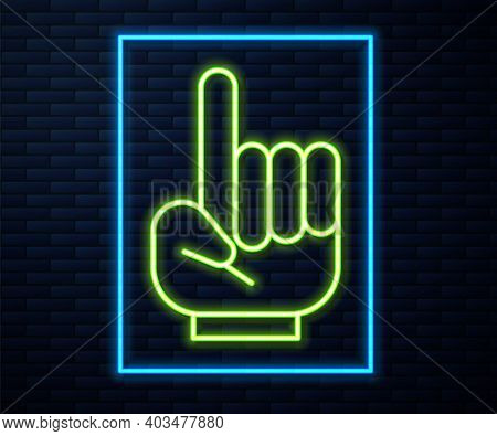 Glowing Neon Line Number 1 One Fan Hand Glove With Finger Raised Icon Isolated On Brick Wall Backgro