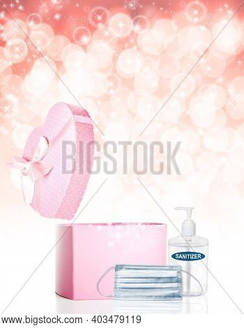 Valentines Day Concept During Covid-19 Pandemic With Opened Heart Shaped Pink Gift Box, Face Mask, H