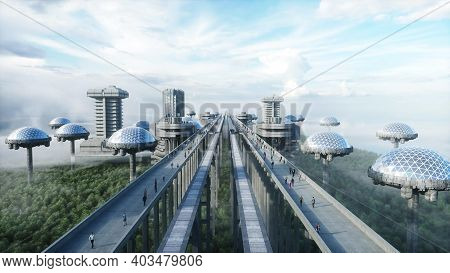 Futuristic Train Station With Monorail And Train. Traffic Of People, Crowd. Concrete Architecture. F
