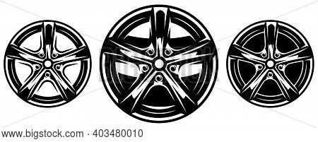 Car Metal Rim. Set Of Vector Illustrations. Template For Logo Design, Corporate Style, Business Card