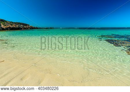Little Salmon Bay At Rottnest Island, Western Australia. White Tropical Beach With Turquoise Crystal