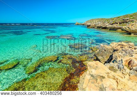 Rottnest Island, Western Australia. Panorama View From Cliffs Over Tropical Reef Of Little Salmon Ba