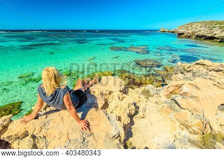 Tourist Girl Looking Turquoise Waters Of Little Salmon Bay, One Of Most Popular Bays On Rottnest Isl