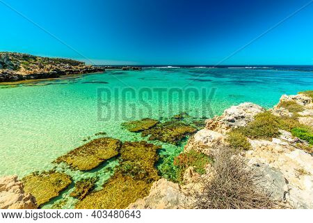 Tourism In Perth. Rottnest Island, Western Australia. Scenic View From Roks Over Tropical Reef In Tu