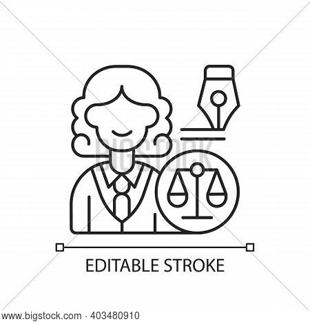Law Department Linear Icon. Dealing With Legal Affairs. Litigation, Investigation. Thin Line Customi
