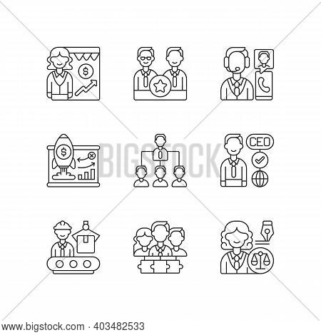 Corporate Hierarchy Linear Icons Set. Sales Department. Executive Staff. Customer Service. Customiza