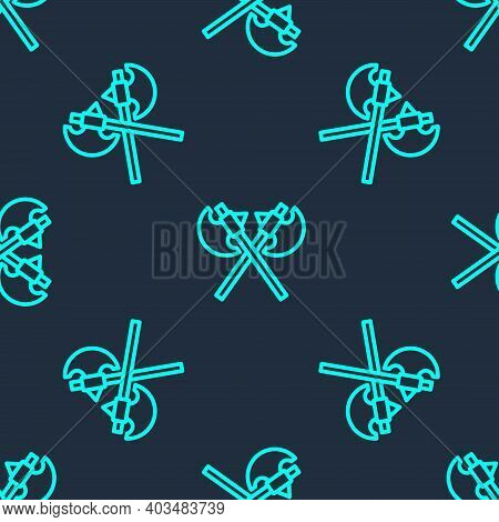Green Line Crossed Medieval Axes Icon Isolated Seamless Pattern On Blue Background. Battle Axe, Exec
