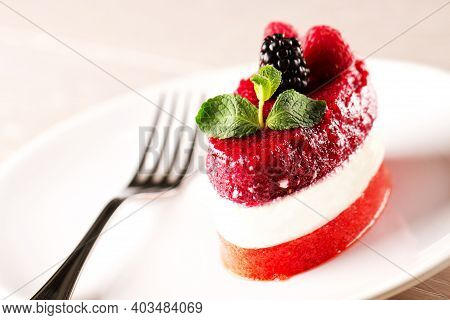 Panna Cotta With Fresh Berries. High Quality Photo