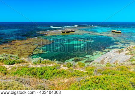 Tourism In Perth. Rottnest Island, Western Australia. Scenic View From Roks Over Turquoise Crystal S
