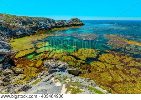 Rottnest Island, Western Australia. Scenic View From Roks Over Turquoise Crystal Sea Of Jeannies Loo