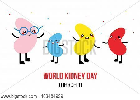World Kidney Day Vector Cartoon Style Illustration, Card With Cute Colorful Kidney Characters. Kidne