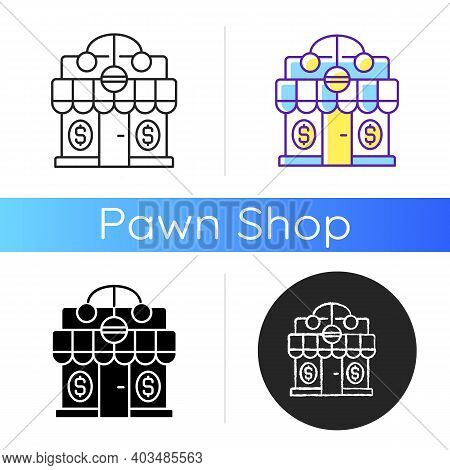 Pawnshop Icon. Loaning Money Business. Collateral-based Loans. Reselling Retail Items. Leaving Perso