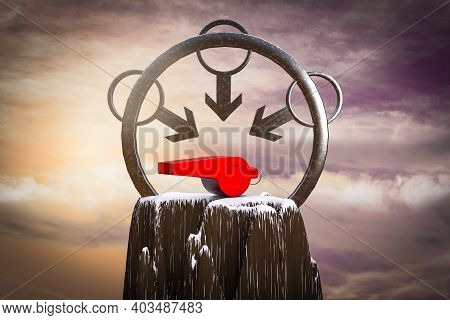 Whistle At The Top Of The Mountain With A Male Symbol Around It Demonstrating Reporting Sexual Assau